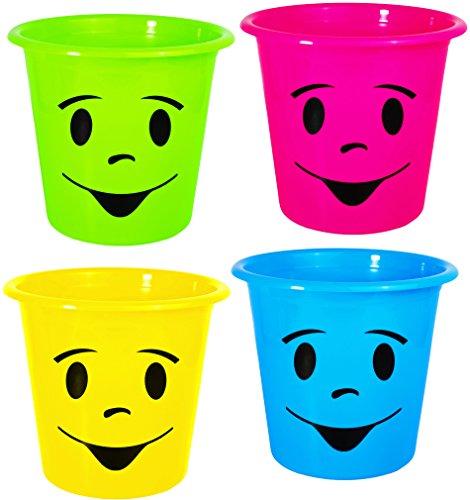 4 Stück _ Papierkörbe / Mülleimer / Blumentöpfe -  lustiges Gesicht bunt - NEON Farben  - Eimer / auch als Blumentopf nutzbar - Behälter 5 Liter - aus Kunst.. ()