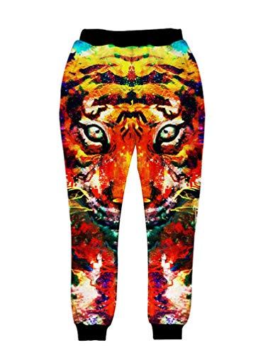 Elástico Rosas Space Star Pattern Animal Tigre Imprimir Ocio Jogger Sweatpants