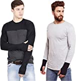 #10: Try This Men's Cotton Casual Partywear Thumbhole T-Shirt (Pack Of 2) Grey And Black Color