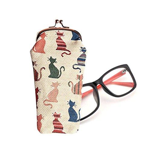 Astuccio donna Signare per occhiali scatto alla moda tessuto stile arazzo Gatto impudente