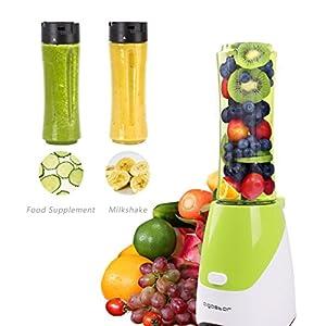 Aigostar Summer 30IWW - Mix and Go Personal sport con 2 bottiglie viaggio da 600ml, BPA FREE, 300W. Color Verde