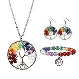 MJARTORIA Damen Schmuck Set Halskette Ohrringe mit Bunt Stein Lebensbaum Anhänger Mehrfarbig Perlen Armkette 3 TLG