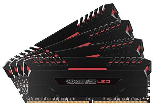Corsair Vengeance LED Kit di Memoria Illuminato LED Entusiasta 64 GB (4x16 GB), DDR4 2666 MHz, C16 XMP 2.0, Nero con Illuminazione a LED Rosso