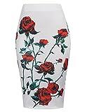 Fashion Bleistiftrock Blumenmuster Paket Hüfte Casual Business Rock Weißer Druck L KK837-1