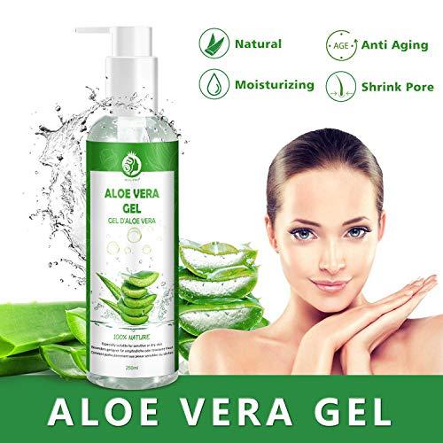Aloe Vera Gesichts-gel (Aloe Vera Gel Bio 100% - für Gesicht, Haare und Körper - Natürliche, beruhigende und pflegende Feuchtigkeitscreme - Ideal für trockene, strapazierte Haut & Sonnenbrand - 250ml, MEHRWEG)