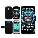 Alice im Wunderland I'm not crazy Cat Cheschire Kunstleder wallet Handy Tasche Schutz Hülle für Samsung Galaxy S3 Mini