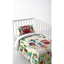 Pack de tres piezas: Funda nordica + sabana bajera + funda de almohada 30x50 para cunas de 120 x 60 cm varios colores algodón 100% Fabricado en España JUNGLE ROCK