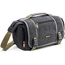 Evecase - Bolso estilo mensajero para cámaras DSLR, impermeable, color gris
