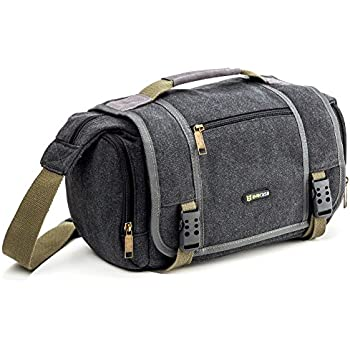 Evecase Large Vintage Messenger Digital SLR Camera Case / Bag for Canon Nikon Sony Panasonic FujiFilm Olympus Pentax and more DSLR Camera - Grey