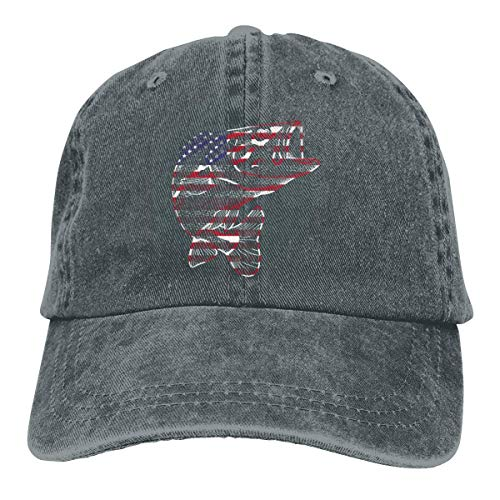 ZZBBLhat American Flag Bass Fish Dad Denim Hats Vintage Baseball Cap Adjustable Womens - American-flag Fish