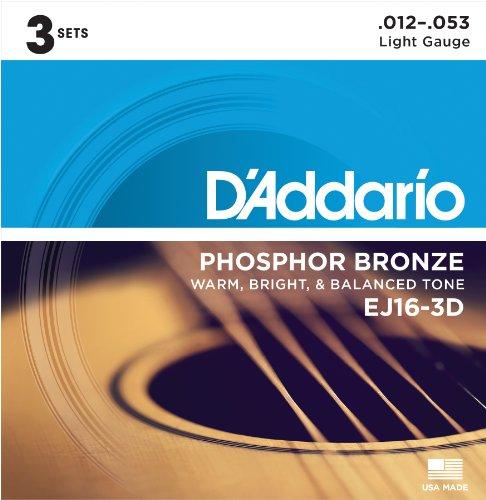 D'Addario EJ16-3D Phosphorbronze leichte Akustische Gitarrensaiten, 3er Pack (Weich E-gitarren-saiten)
