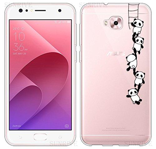 Sunrive Für Asus Zenfone 4 Selfie Pro ZD552KL 5,5 Zoll Hülle Silikon, Transparent Handyhülle Schutzhülle Etui Case Backcover(TPU Panda 1)+Gratis Universal Eingabestift