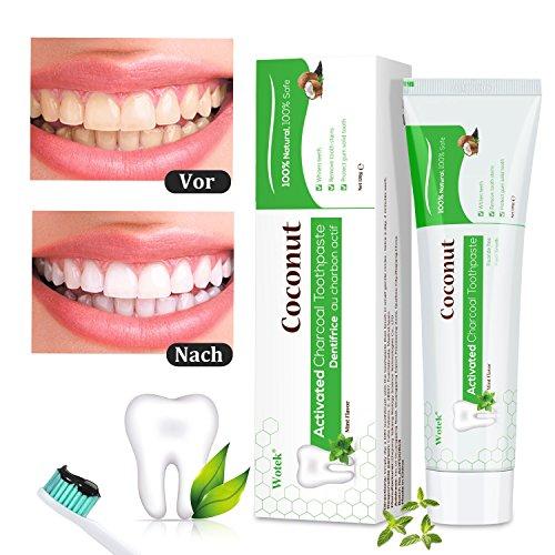 (Aktivkohle Zahnpasta, Wotek Schwarze Zahnpasta für weiße zähne, Teeth Whitening Charcoal Toothpaste, Whitening Zahnpasta, Kokosnuss Zahnpasta Zähne Aufhellen, Whitening Toothpaste, Zahnaufhellung)