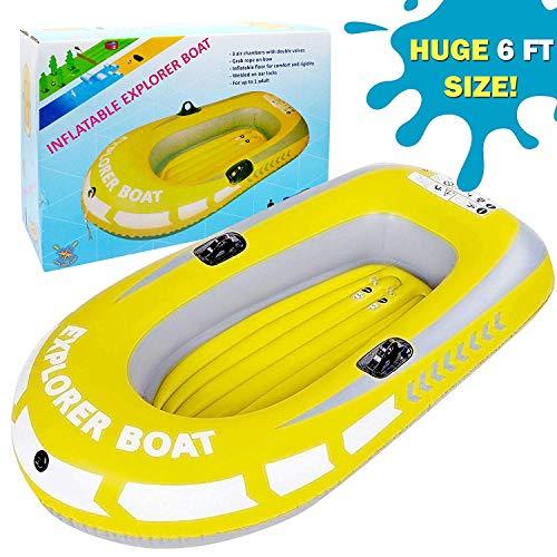 Bramble Kinder Schlauchboot, Kleine Aufblasbares Boot, Groß 188x114cm - Einfach Aufzublasen & zu Abzulassen, Hitzegeschweißte Nähte, Hochwertigen-PVC - Schwimmen Strand Pool Paddeln Spielzeug Sommer