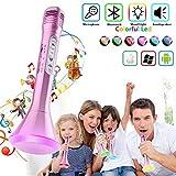 Micrófono de karaoke para niños, Máquina de reproductor de karaoke portátil con micrófono de karaoke para tocar en casa y tocar música para iPhone/Android/iPad/PC (Rosa)