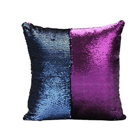 Elviros Deux Couleurs Sirène Paillettes Réversibles Magique Housse de Coussin 40x40cm - Violet et Bleu