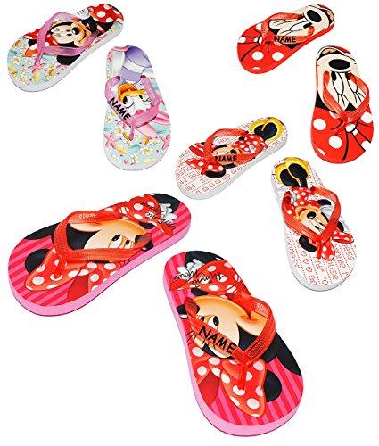 """Zehentrenner Sandalen - Gr. 29 / 30 - """" Disney Minnie Mouse """"- incl. Name - rutschfeste Schuhe Schuh / Badeschuhe mit Profilsohle - für Kinder - Mädchen / Hausschuhe Gartenschuhe - Wasserschuhe - Wass"""