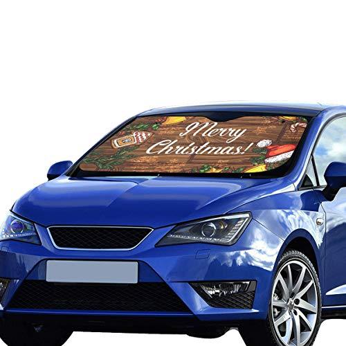 Plosds Frohe Weihnachten Frohes Neues Jahr Grüner Kranz Sonnenblende Universal Fit Vorne Auto Fahrzeug kühl halten Wärmereflektor Geländewagen 55