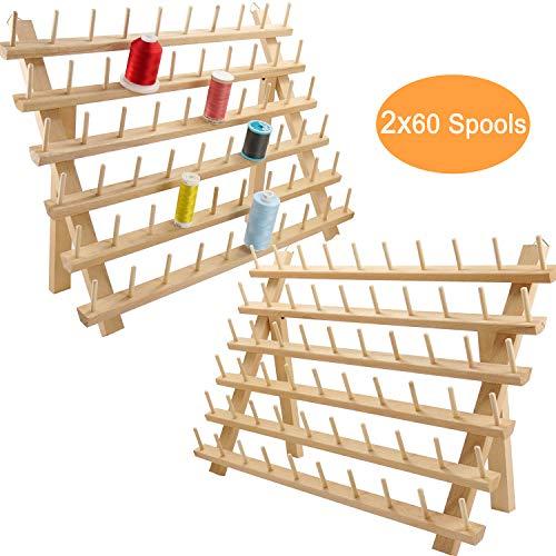 New brothread 2x60 Carretes Organizador de hilo de madera / estante de...