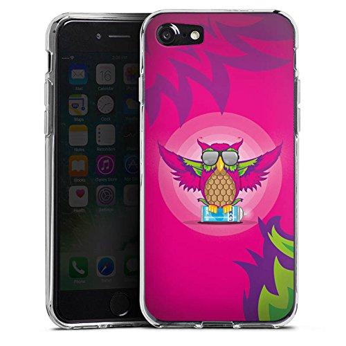 Apple iPhone X Silikon Hülle Case Schutzhülle Eule Pink Sonnenbrille Silikon Case transparent