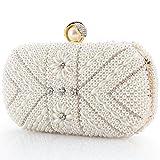 LONGBLE Perlen Clutch Damen Weiß Abendtasche mit Strass Frau Tasche Handtasche klein Brauttasche...