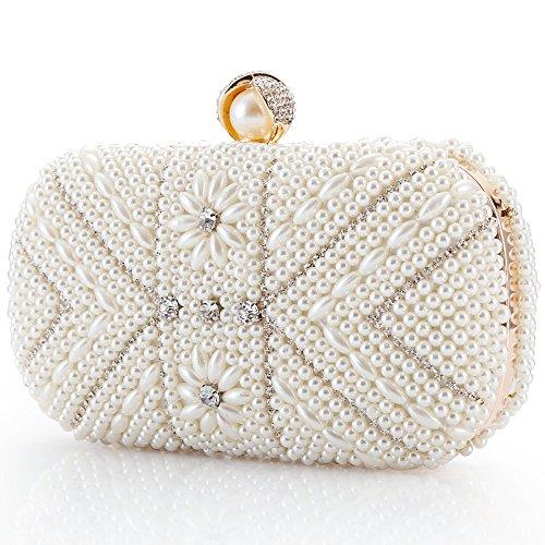 LONGBLE Perlen Clutch Damen Weiß Abendtasche mit Strass Frau Tasche Handtasche klein Brauttasche Kettentasche für Party Hochzeit Geschenk - Hochzeit Clutch
