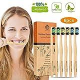 Bambus Zahnbürsten Holzzahnbürste für Erwachsene Kinder Weich - 6er Premium Aktivkohle Zahnbürsten Bamboo Toothbrush 100% BPA freie, Plastikfrei, Vegan, Umweltfreundlich, Recycelbar Packung(6 Pcs)