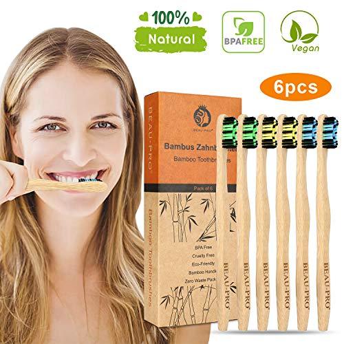 Bambus Zahnbürsten Holzzahnbürste Mittel - 6er Premium Aktivkohle Zahnbürsten Bamboo Toothbrush 100% BPA freie, Plastikfrei, Vegan, Umweltfreundlich, Recycelbar Packung(6 Pcs)