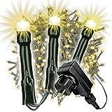 LED Büschellichterkette Cluster für Außen IP44 Außen-Trafo 6h-Timer grünes Kabel 25m Weihnachtsdekoration Party Xmas 500 750 1000 2000 warmweiß bunt wählbar (warmweiß, 500 LED)