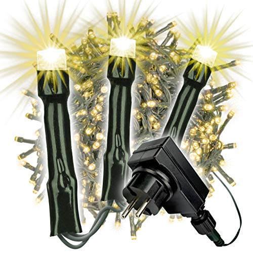 2000 LED Büschellichterkette Cluster warm weiß für Außen IP44 Außen-Trafo 6h-Timer grünes Kabel 50 m Weihnachtsdekoration Party Xmas