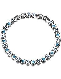 Emma Gioielli - Pulsera Para Mujer Tenis Ch. en Plata y Cristales SWAROVSKI ELEMENTS Blancos y Azul Claro Moda Amor Love - Caja de Regalo