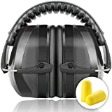 Ear Defenders, Fnova 34dB Highest NRR Safety Ear Muffs, Shooting Hearing Protector, Super Soft Foam + Double Layers Noise Dampening+ Folding-Padded Headband - Fits Adults to Kids(Space Black)