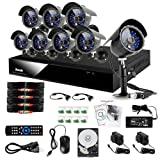 Zmodo CCTV DIY SET - 8CH Security H.264 CCTV DVR System Outdoor Surveillance Sony Color CCD Waterproof Day Night Camera Smartphone/Network View & 1TB Hard Drive + 8 Cables with power supplier