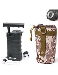 aokur Filtro de Agua - Portátil / Emergencia / Purificador Water Filter Personal para Campamento / Acampada / Deporte / Aire Libre y Supervivencia