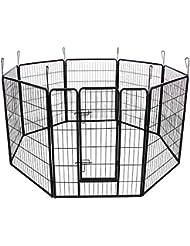 Songmics Parque para mascotas perros Corral plegable para juego entrenamiento 8 Piezas combinables Negro PPK81H.