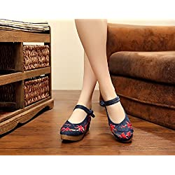 Lazutom Vintage estilo chino pintura de tinta de mujer bordado cómodo Casual zapatos de senderismo, color multicolor, talla 36 EU