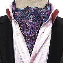 COMVIP Cravate Foulard Vintage pour Homme Imprimé en Polyester Élégance c2b2dfcb86d
