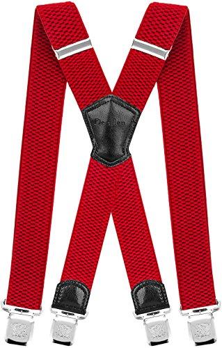 Decalen Hosenträger für Herren Breit 4 cm mit sehr Starken 4 Metall Clip Lang Einheitsgröße für Männer und Damen Einstellbar und Elastisch X Style (Rot)