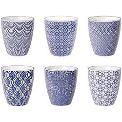Tokyo Design Studio Nippon Blue Tassen Set aus hochwertigem Porzellan - 6-er Set Tassen ohne Henkel - jede Kaffeetasse / Teetasse fasst 200 ml - Spülmaschinenfest und mikrowellengeeignet