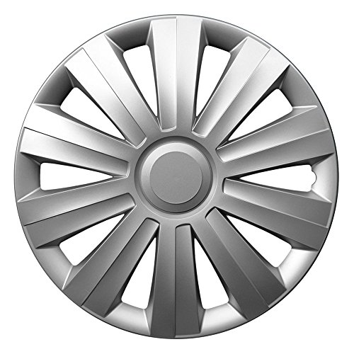 CM DESIGN 14 Zoll Radzierblenden Snake Silver (Silber). Radkappen passend für Fast alle OPEL wie z.B. Corsa C