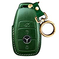 Intermerge for Mercedes Benz Key Fob Cover, Full Protection Soft Leather Key Fob Case Compatible with Mercedes Benz Keyless Remote Control Key Chain E Class 2017,S Class 2018 Smart Keychain - Green