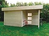Gartenhaus mit Vordach Pirum S8220 - 28 mm Blockbohlenhaus, Grundfläche: 12,72 m², Flachdach