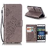KATUMO®Wallet Case P8 Lite, Luxuriös PU Ledertasche Handy Etui Kartensteckplätze und Seitenständer Hülle für Huawei P8 Lite / Huawei ALE-L21 Cover Shell, Grau