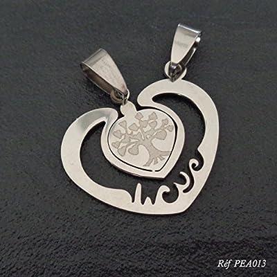 Pendentifs à partager en acier inoxydable, Coeur arbre de vie, idée cadeau Saint Valentin