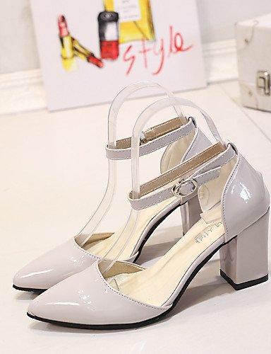 UWSZZ IL Sandali eleganti comfort Scarpe Donna-Scarpe col tacco-Ufficio e lavoro / Casual-Tacchi / A punta-Quadrato-Finta pelle-Rosa / Bianco / Beige beige