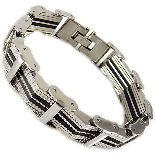 e34692889e2d akiee bracelet Homme Acier inoxydable avec bracelet en silicone caoutchouc  de couleur Noir 20,50 cm modèle 1