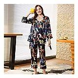 HAOLIEQUAN Satin Silk Pijama Pyjama Mit V-Ausschnitt Camisole Robe Pants 3 Stück Pyjama Set Mit Blumen Pyjama Damen Nachtwäsche, Farbe, L