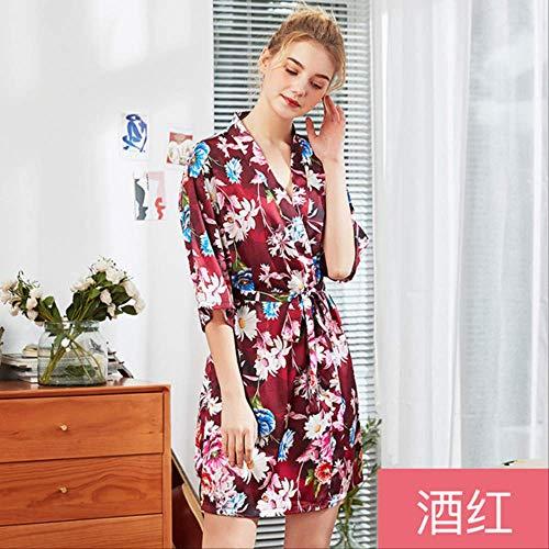 NSSYSKS Neue Frauen Silk Satin Hochzeit Braut Brautjungfer Robe Floral Bademantel Short Kimono Robe Nachtrobe Plus Size Bademantel M-XXL XXL Rot - Plus Size Chiffon-robe