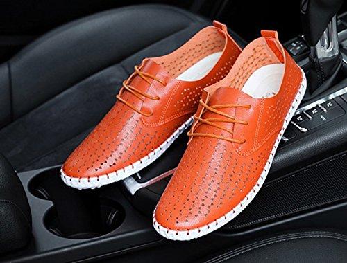 ICEGREY Herren Mokassin Mikrofaser Loafers Fahren Freizeitschuhe Slippers Orange