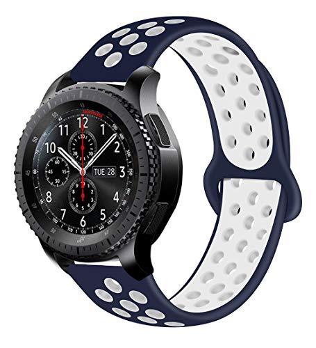 MroTech Ersatzband für Gear s3 Armband Silikon 22mm Uhrenarmband Sportarmband Ersatzen Silikonarmband für kompatibel Samsung Gear S3 Frontier Classic, Galaxy Watch 46mm, Huawei Watch GT - Blau/Weiss (Seiko-uhr-handgelenk-band-pins)